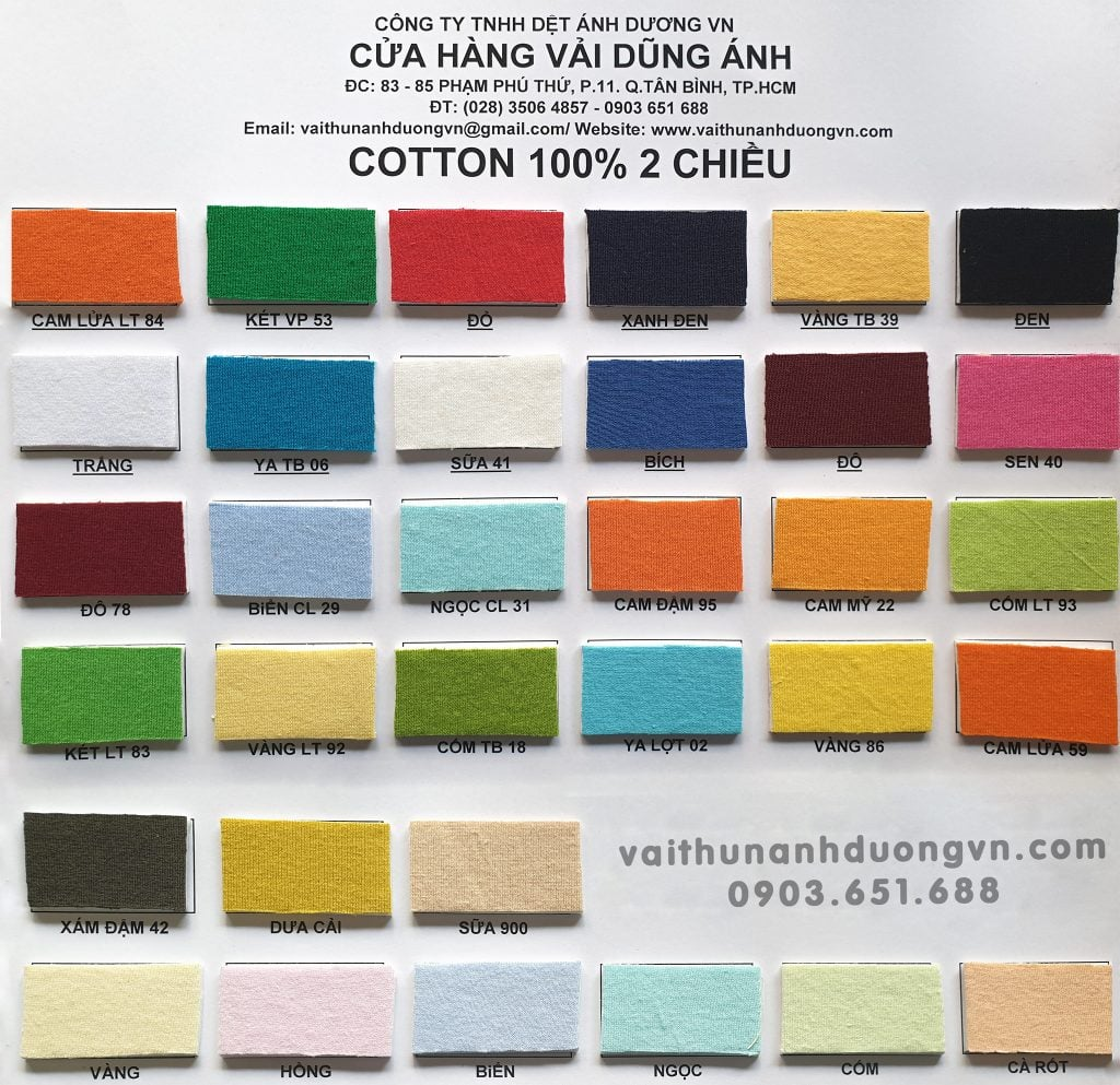 vai thun cotton, vải thun cotton 2 chiều, cotton single
