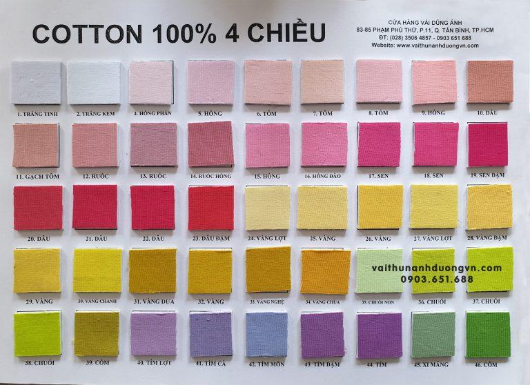 vải thun cotton 4 chiều hàng cao cấp, sản xuất tại việt nam
